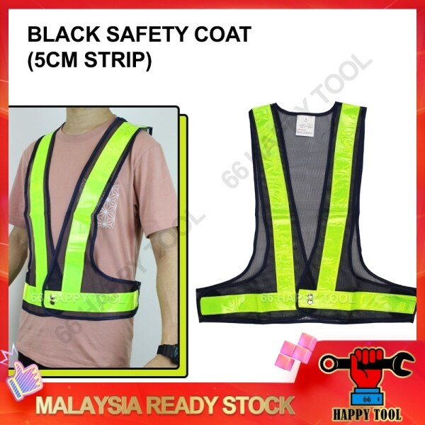 66 Happy Tool Ready Stock Black Safety Coat with 5cm Green V-Shape Reflective Strip Velcro Stick