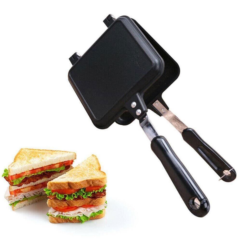 Máy Nướng Bánh Mì Bằng Sắt Chống Dính Chạy Ga Dụng Cụ Làm Sandwich, Khuôn Lò Nướng Bánh Quế Làm Bánh Kếp Chảo Rán Nướng