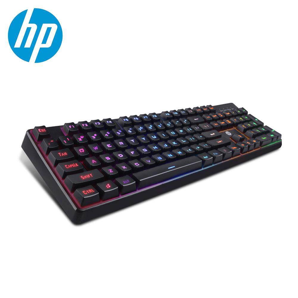HP K300 Wired Gaming Keyboard Mechanical Feeling LED Backlit Keyboards USB 104 Keycaps Keyboard Computer Game Keyboards Malaysia