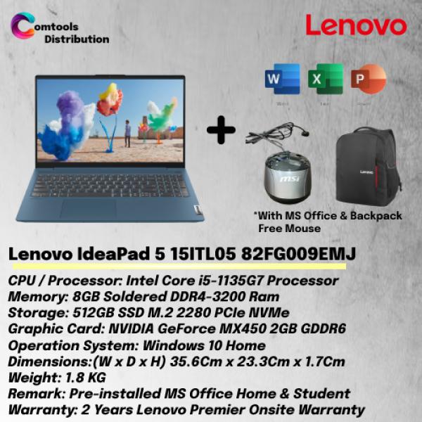Lenovo IdeaPad 5 15ITL05 82FG009EMJ 15.6 FHD Laptop Abyss Blue ( I5-1135G7, 8GB, 512GB SSD, MX450 2GB, W10, MS ) Malaysia