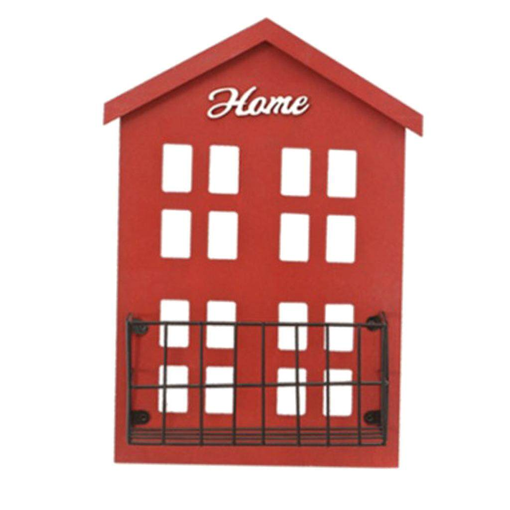 Perfk Wooden House Shelving Display Unit Wall Rack Letter Mail Box Key Holder Rack