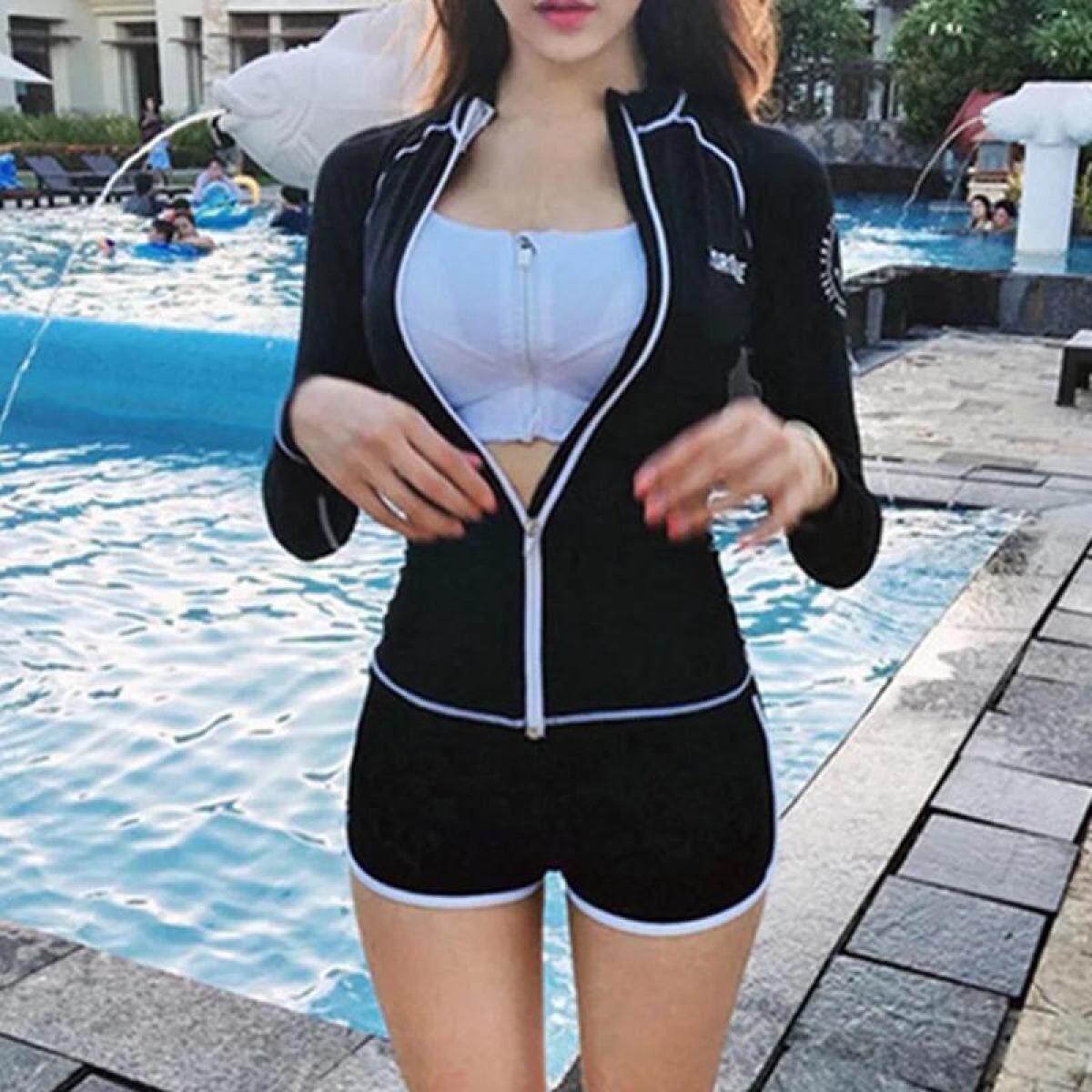 1808d47d93 (Tops+Bra+Shorts) Women Rashguards Suit Long Sleeve Tops Swimming Suit Set