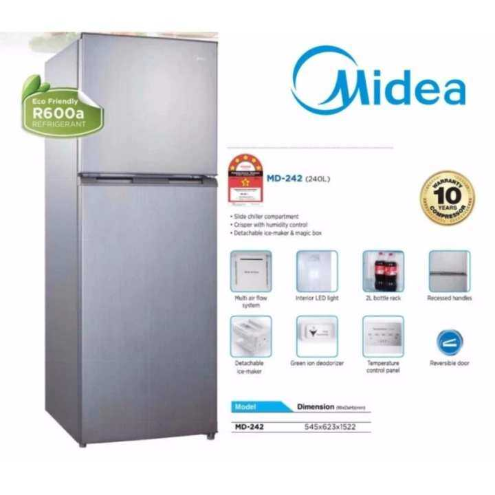 Midea 2 Door Refrigerator MD-242 (240L) - 5 Star Energy Saving