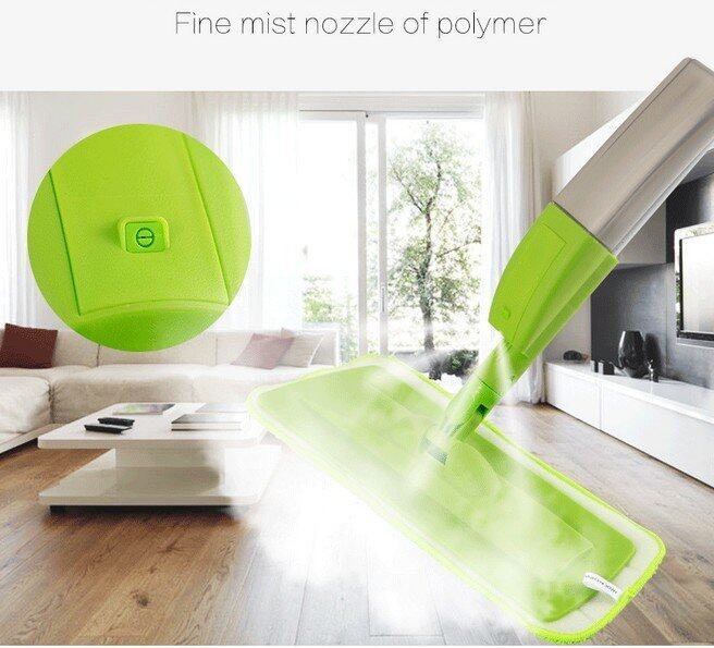 Hình ảnh New fashion spray mop Aluminium Pole Microfiber 360 rotating mop Multifunction rotate mops floor cleaning Tools (Green) - intl