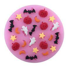 New Halloween Pumpkin Bat Ghost Star Liquid Silicone Sugar Cake Baking By Funny Face.