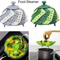 Hình ảnh niceEshop Steamer Basket Folding Non-Scratch For Steaming Vegetable Silicone Feet, Green And Dark Green