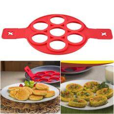 Non-Stick Fantastic Pancake Silicone Ring Maker Kitchen Frying Egg Omelets Mold Red.