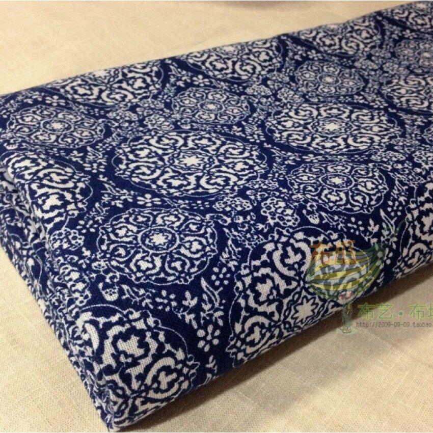 GFW Small Blue And White Imitation Batik Linen Fabric Blue Flower Cloth