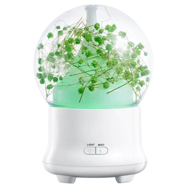 YUESHUNBUHA 100ml Essential Oil Diffuser,Preserved Fresh Flower Ultrasonic Aromatherapy Diffusers With 7 Changing Color LED Lights,2 Setting Mist Mode And Waterless Auto Shut-off For Home,Office,Yoga (UK Plug) - intl Singapore