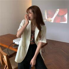 Sezo Hàn Quốc Retro Phần Thân Mỏng Quần Soóc Rộng Tay Áo Blazer Nữ Màu Trơn Áo Đơn Giản
