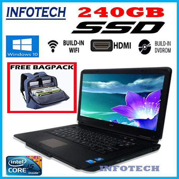 Nec VX-A SSD 240GB intel core i5 4GB DDR3 DVD HDMI WIFI LAPTOP NOTEBOOK ( Refurbished 15.6 ) Free backpack Malaysia
