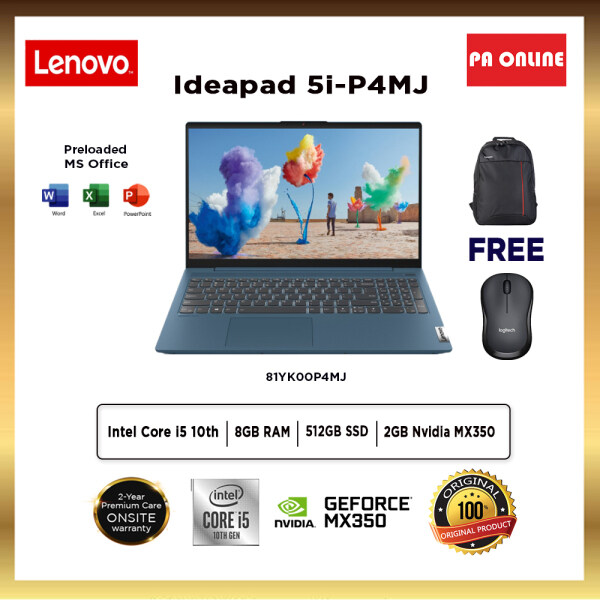 Lenovo Ideapad 5 5i -15IIL05 81YK00P5MJ -Intel Core i5-1035G1 /8GB RAM /512GB SSD /15.6 FHD /Nvidia MX350 2GB /Win 10 /Ms office /2 Years Malaysia
