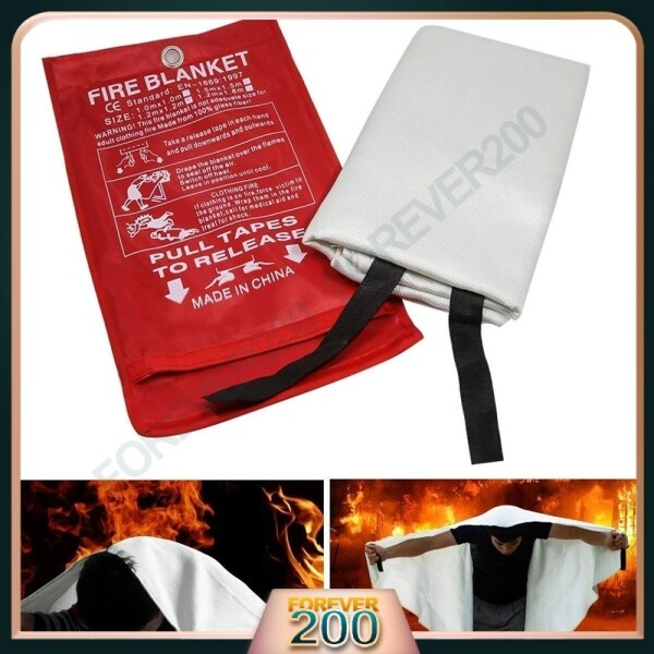 Fire Blanket Fiberglass High Quality Fire Flame Retardant Emergency Survival White Shelter Safety Cover Ready Stock
