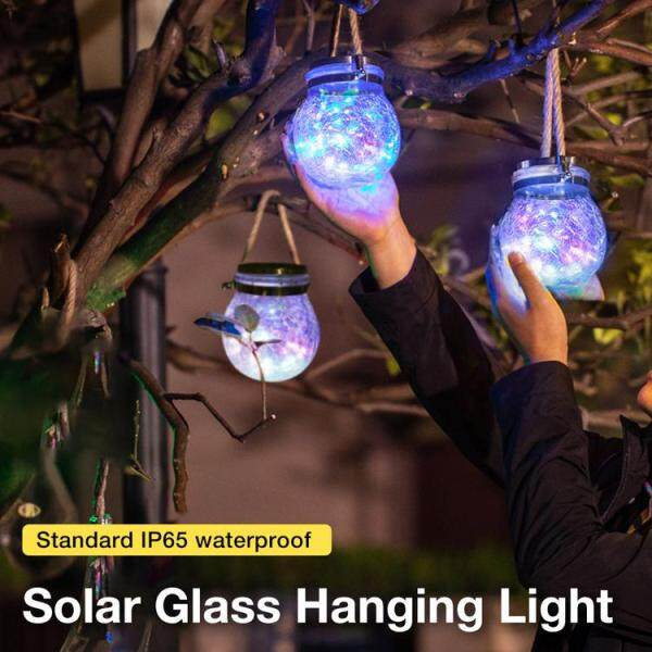 Đèn Lồng Năng Lượng Mặt Trời Viugreum Jar Trang Trí Ngoài Trời Đèn Năng Lượng Mặt Trời Lọ Thủy Tinh Sọc Trong Suốt Với Pin Tích Hợp Cho Trang Trí Sân Vườn