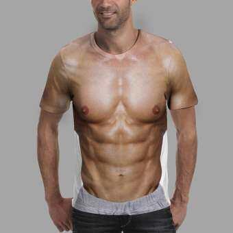 Vernonstore ผู้ชายหย่อนใจแฟชั่น 3D กล้ามเนื้อสั้นเสื้อยืดเสื้อ