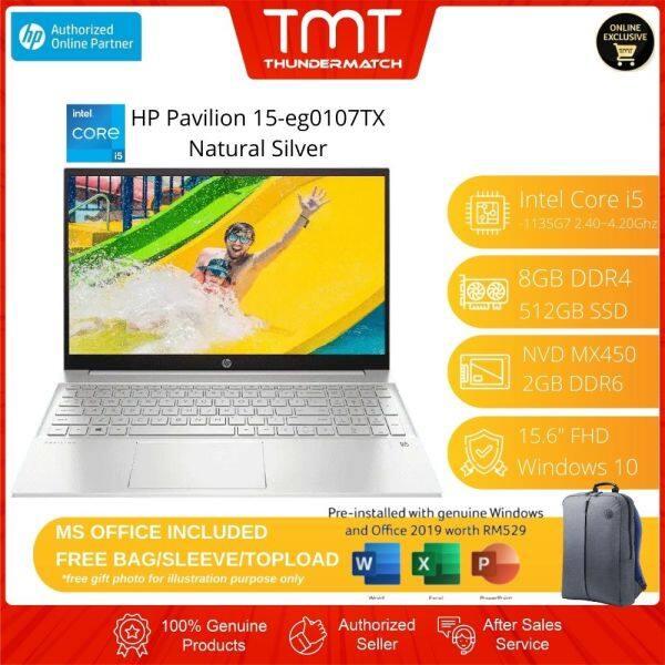 HP Pavilion 15-eg0107TX Silver 2R8B4PA Laptop   i5-1135G7   8GB RAM 512GB SSD   15.6 FHD   MX450   W10   MS OFFICE + BAG Malaysia