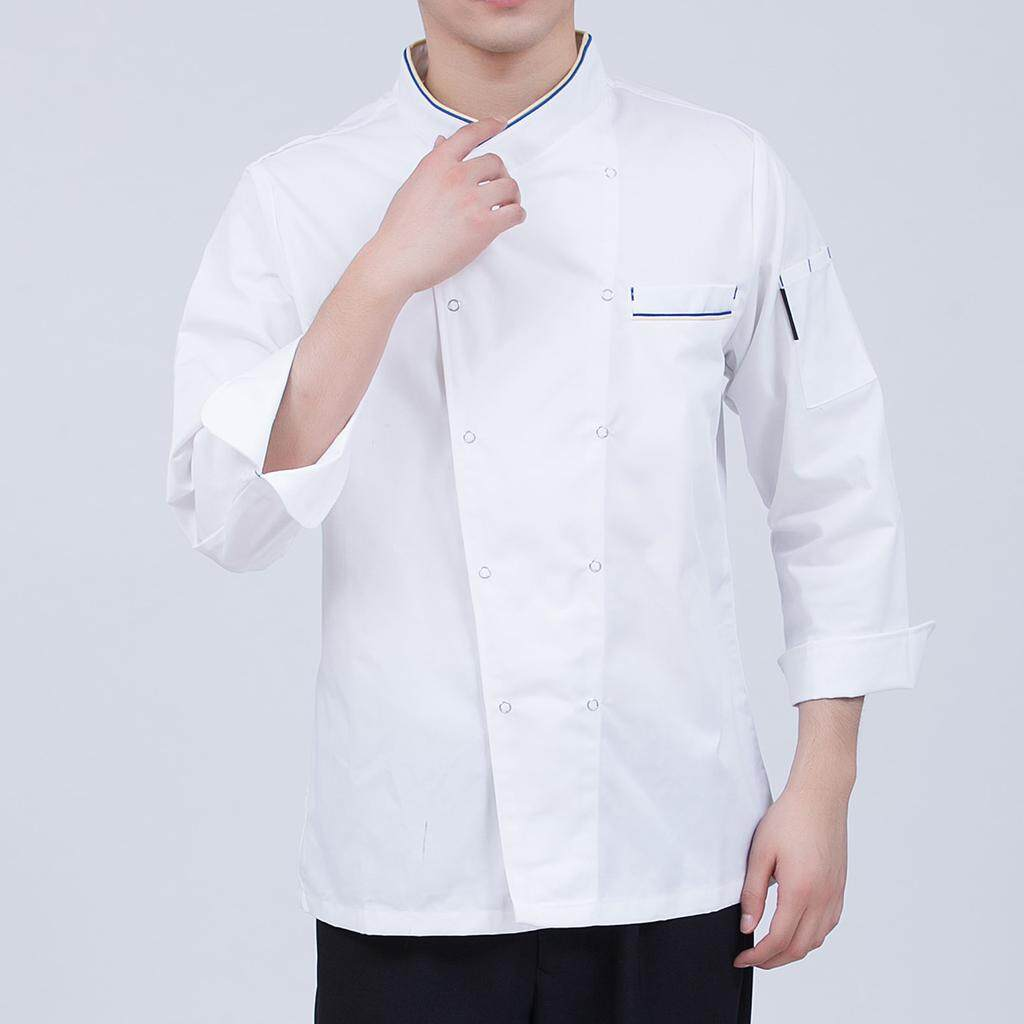 Fenteer Black/White/Red Coat Chef Apparel Unisex Long Sleeve Chef Jacket Stub Button
