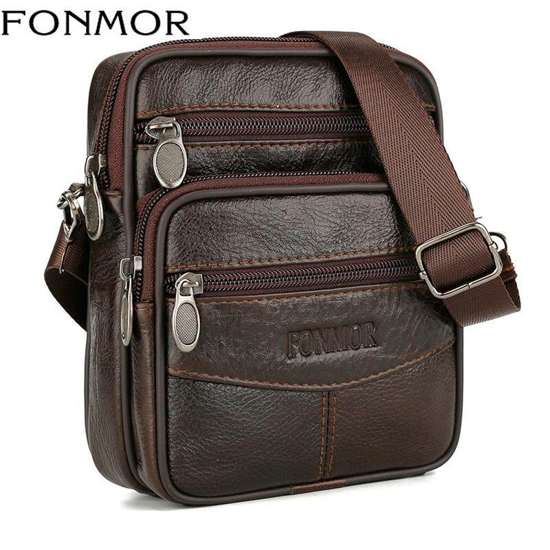 Genuine Leather Messenger Bags For Men Vintage Small Mobile Cell Phone Case
