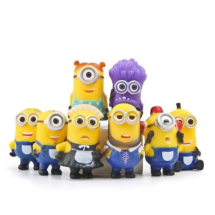 8pcs/lot Minion Miniature Figurines Toys Cute Lovely Model Kids Toys 5.5cm Pvc Anime Children Figure