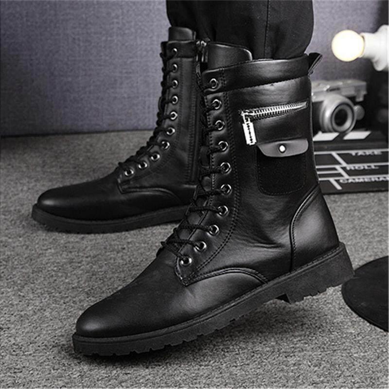 ชายกลางลูกวัวทหารรองเเท้าบูทจักรยานยนต์ Punk Studded Zipper ยุทธวิธี Combat รองเท้าหนัง By Freebang.
