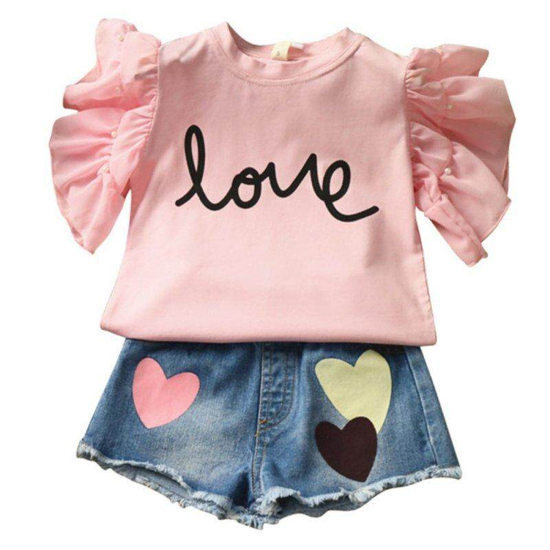 9f3150a2546 Summer baby Girls Clothing set flying sleeve letters T shirt + love Heart  denim shorts 2