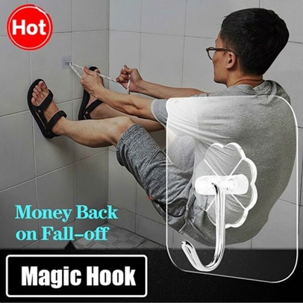 10-100pcs Magic Hook Without Nails Transparent Strong Sticky Heavy Magic Wall Hook Multi Purpose Adhesive Hook