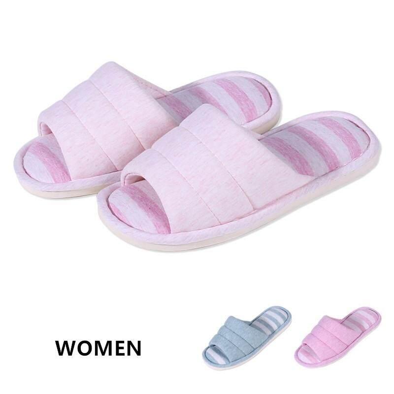 ee62e0646 Women's Cotton House Slipper Soft Striped Indoor Slippers Open Toe Comfort  Memory Foam Slip-on