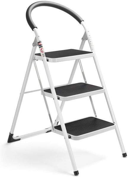3 Step Ladder Folding Step Stool 3 Step ladders with Handgrip Anti-Slip and Wide Pedal Sturdy Steel Ladder 330lbs White and Black Combo (3 feet) (3 Step Ladder)