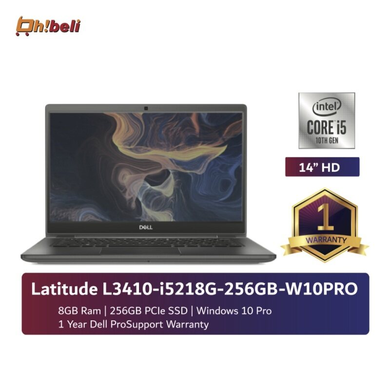 [New] Dell Latitude 3410 Notebook i5-10210U/8GB/M.2 256GB/UHD 620/14/Win10P/1Yr (DEL-L3410-I5218G-256-W10) (ohbeli) Malaysia