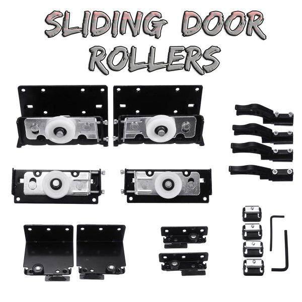 Set Black Sliding Door Rollers Wardrobe Nylon Pulley Hanging Wheel Cabinet Slide