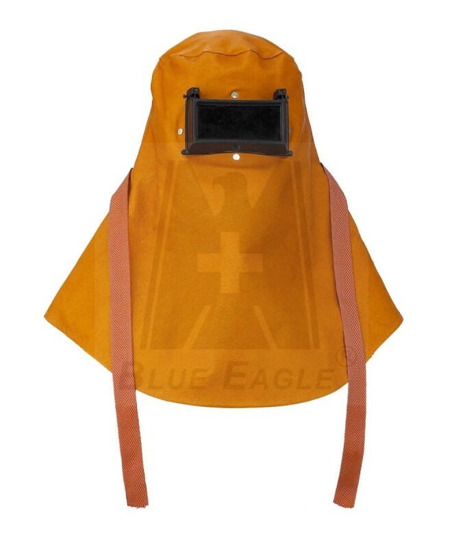 BLUE EAGLE Brown ARC-Welding Leather Hood with Flipped-Up Lens, Certified By ANSI