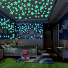 101 Miếng Dán Tường Phát Sáng Hình Sao Trăng 3D, Nghệ Thuật Treo Tường Huỳnh Quang Trang Trí Phòng Trẻ Em Gia Đình