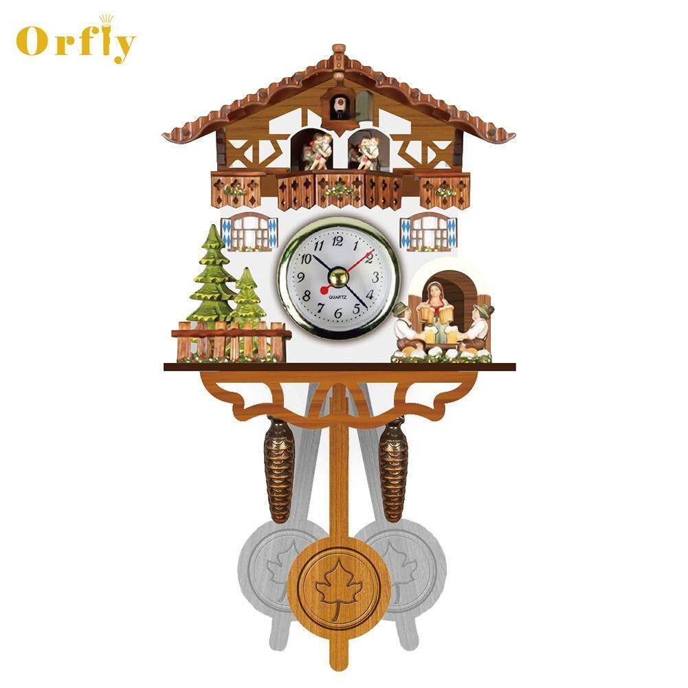 Nơi bán Orfly Cổ Bằng Gỗ Nồi Đồng Hồ Treo Tường Chim Thời Gian Chuông Xoay Báo Động Đồng Hồ Nhà Nghệ Thuật Trang Trí