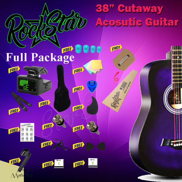 38 Inch Acoustic Guitar Purple Color Cutaway Starter Pack Folk Guitar Package Bundle Malaysia