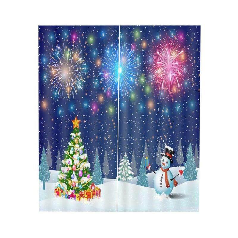 Rèm Cửa KL Bán Cho Cửa Sổ Mua 1 Tặng 1 Giáng Sinh 3D In Kỹ Thuật Số Người Tuyết Rèm Trang Trí Giáng Sinh Phòng Ngủ Phòng Khách