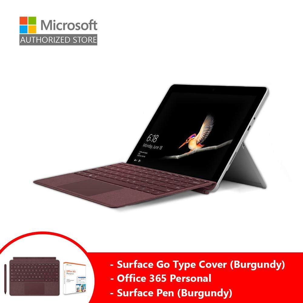 Microsoft Surface Go Intel 4415Y/4GB RAM - 64 GB + Type Cover (Burgundy) + Pen (Burgundy) + Office 365 Personal Malaysia