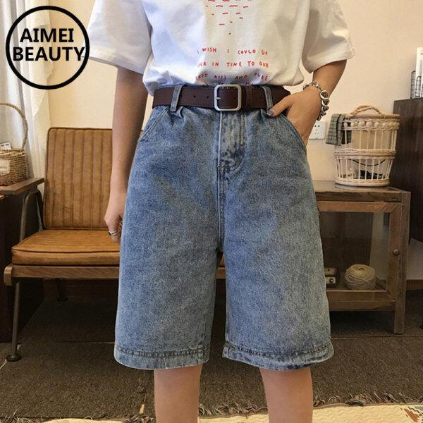Nơi bán AimeiBeauty Quần bò lửng lưng cao ống rộng mang phong cách Hàn Quốc dành cho nữ ( sản phẩm không bao gồm thắt lưng) - INTL