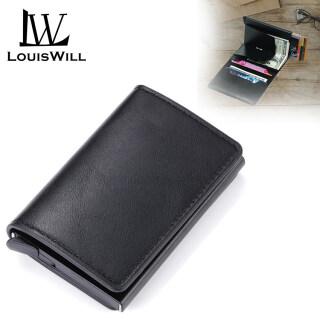 Ví Đựng Thẻ LouisWill, Ví Nam Túi Đựng Tiền Ví Nam Ngắn Màu Đen Cổ Điển, Ví Da PU Thời Trang Ví Mỏng thumbnail
