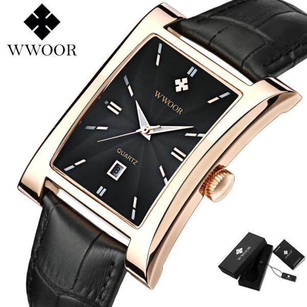 WWOOR Top Luxury Brand Watch For Men Leather Water Resistant Calendar Business Square Dial Analog Quartz Original Wristwatch Malaysia