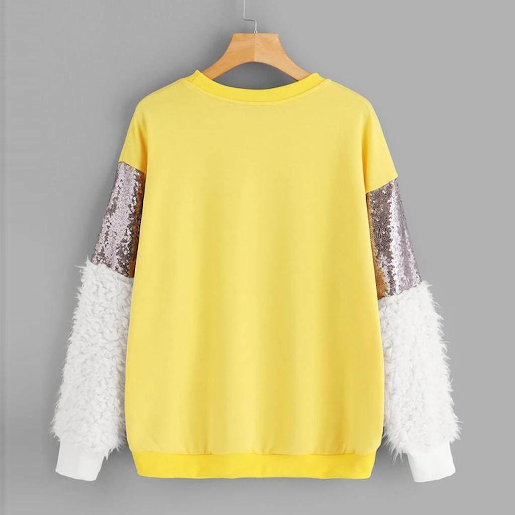 IDASIC Fashion Women Long Sleeve Sequin Fluffy Sweatshirt O-Neck Pullover Top Blouse