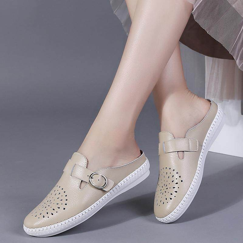58116a9409a Women Flats Slip On Women Loafers Soft Leather Moccasins Shoes Women Half  Slippers Loafers
