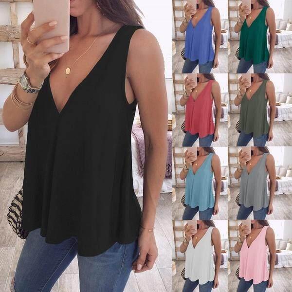 Musim Panas Fashion Wanita Tank Top Kaus Sifon Longgar Sol Lunak V Leher T-Shirt Ukuran Plus Atasan S-5xl By Jointlycreating.