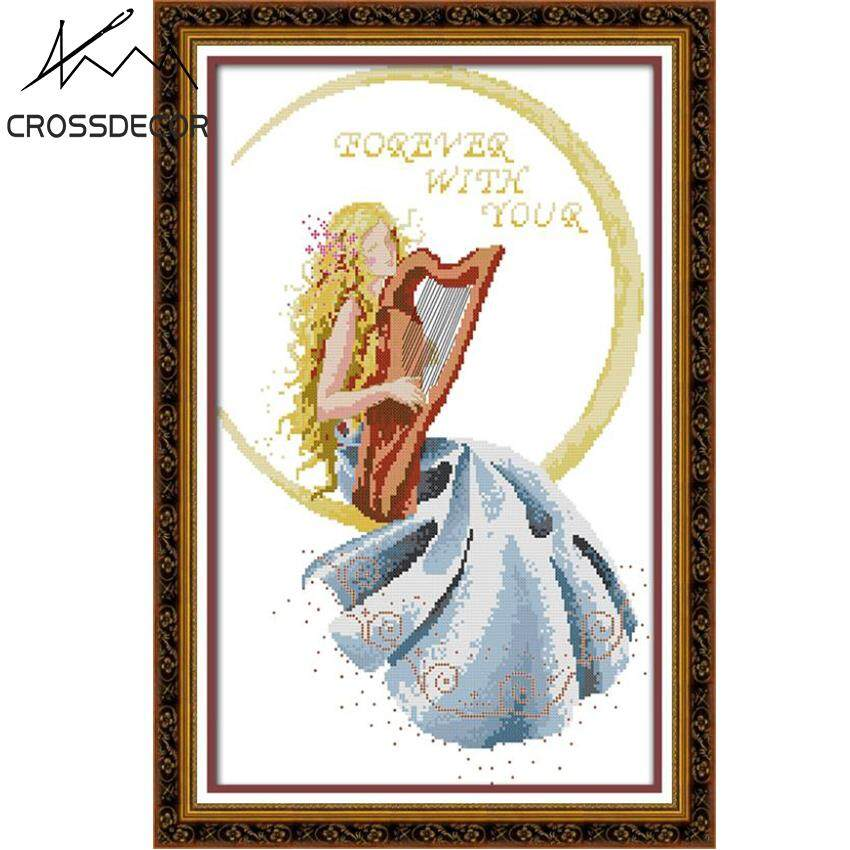 DIY Pre-printed Cross Stitch Complete Set Beautiful Woman in the Moon Pattern Stamped Cotton Thread Handmade Embroidery Needlework DMC Home Living Room Decor