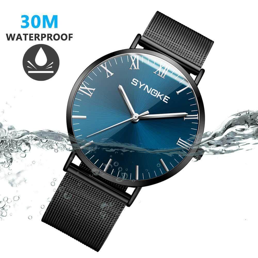 EterSummer Men Business Watch Quartz Watch Simple Fashion Watch 30M Waterproof Stainless Steel Genuine Leather Mesh Belt with Watch Vacuum Plating Thin Design For Man Malaysia