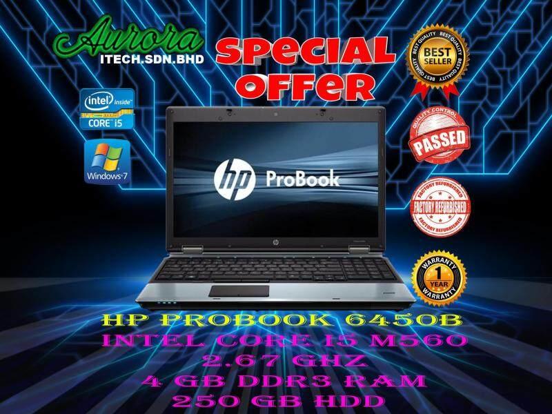 (REFUBISHED)HP Probook 6450B / Intel Core i5- M560 2.67 GHZ / 14.1inch / 4 GB DDR3 RAM / 250 GB HDD / FREE BAG MOUSE / 1 YEAR WARRANTY Malaysia