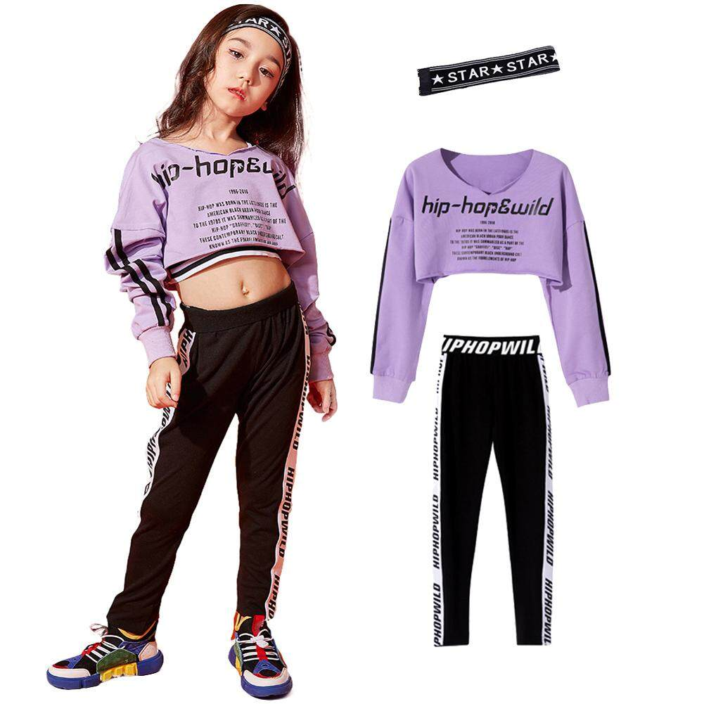 Child Girls Hip Hop Sports Costume Street Dance Stage Performance Clothing Kids Purple Tops Fashion Casual Black and White Jogging Pants