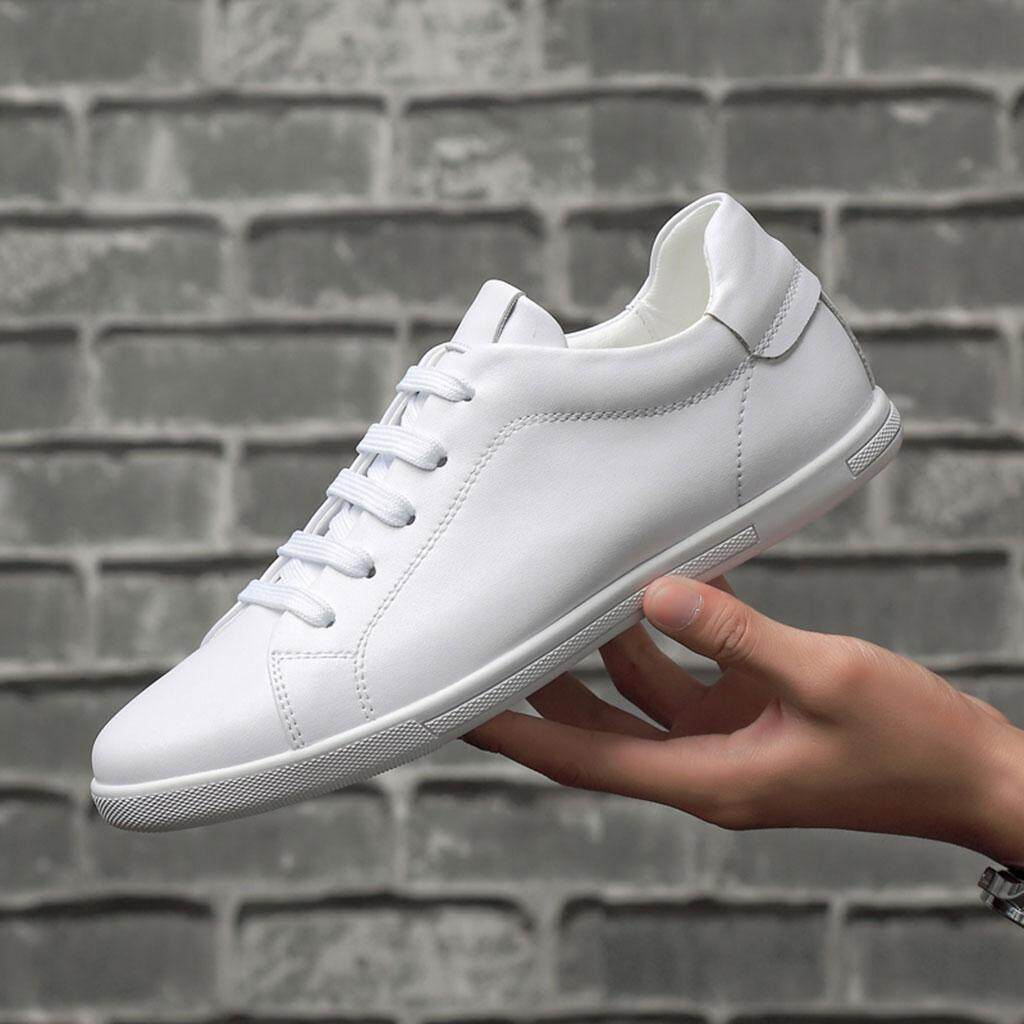 b358fb7a9980 Fashion Men Shoes Genuine leather white color Spring Autumn Summer Sneakers  36 to 46 Sports Skateboarding