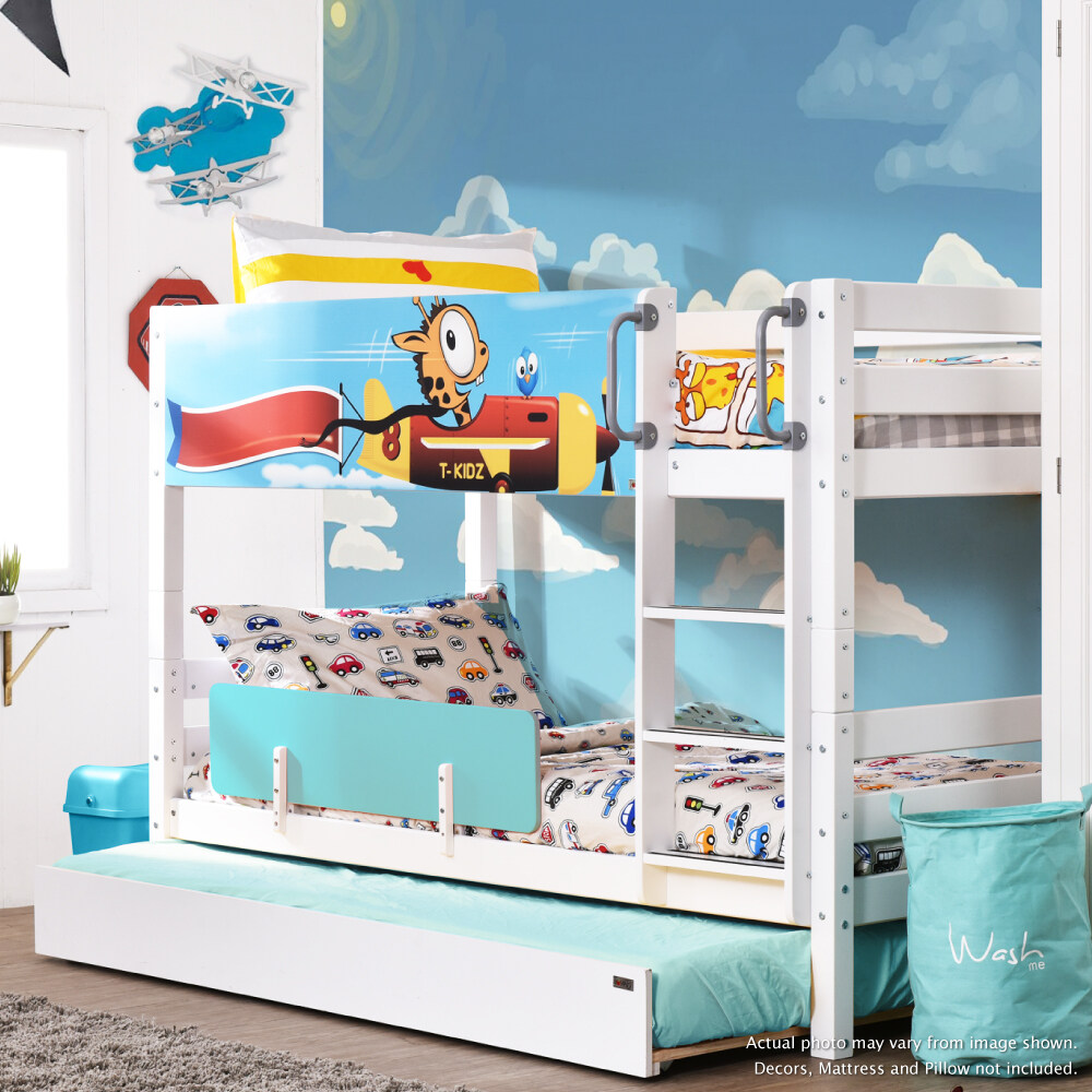 Bed Kids Adult Solid Wood Separable To 2 Beds Double Decker Single Size Bunk Bed Juicy Low Bunk Bed With Trundle Katil Kanak Kanak Dewasa Lazada