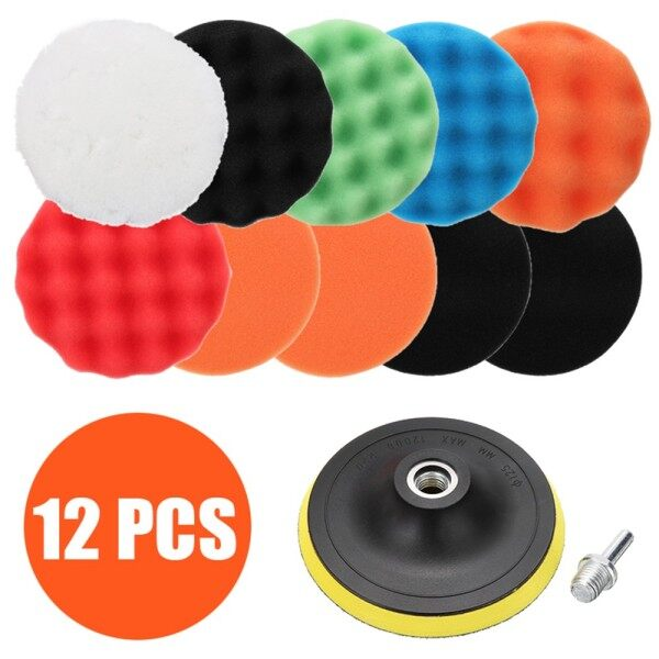 12* 125mm Polishing Sponge Waxing Pads Buffing Set Fit For Car Polisher Drill