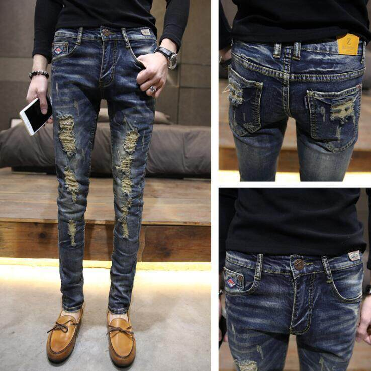 7424a7bd 2019 New Fashion Ripped Jeans For Men Hip Hop Casual Jeans Patch Moto Mens  Designer Clothes